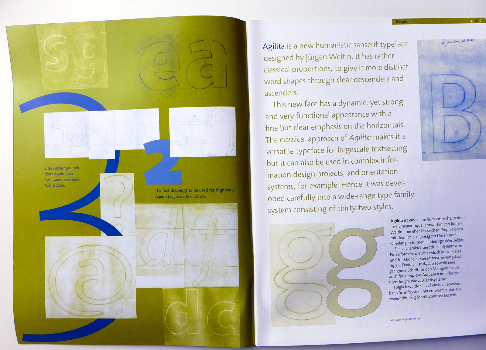 Design and drawings of the Agilita typeface