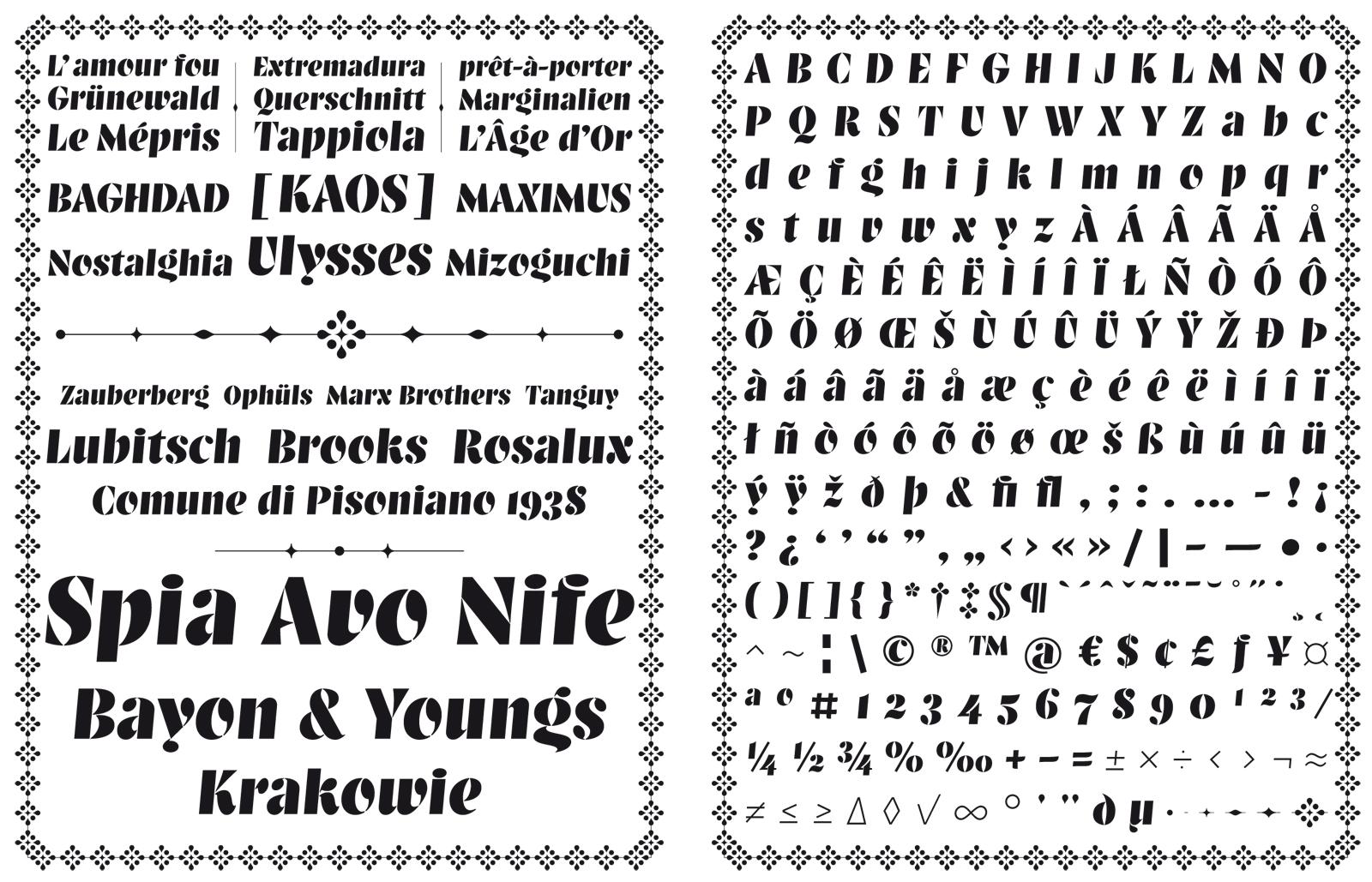 Balega typeface specimen