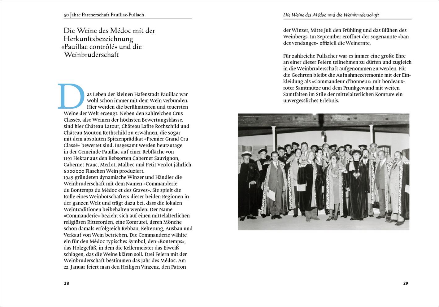 Doppelseite aus der Festschrift für das 50-jährige Jubiläum der Städtepartnerschaft Pauillac-Pullach