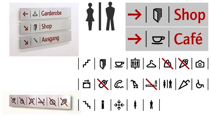 Piktogramme für Orientierungssystem Hypo Kunsthalle München