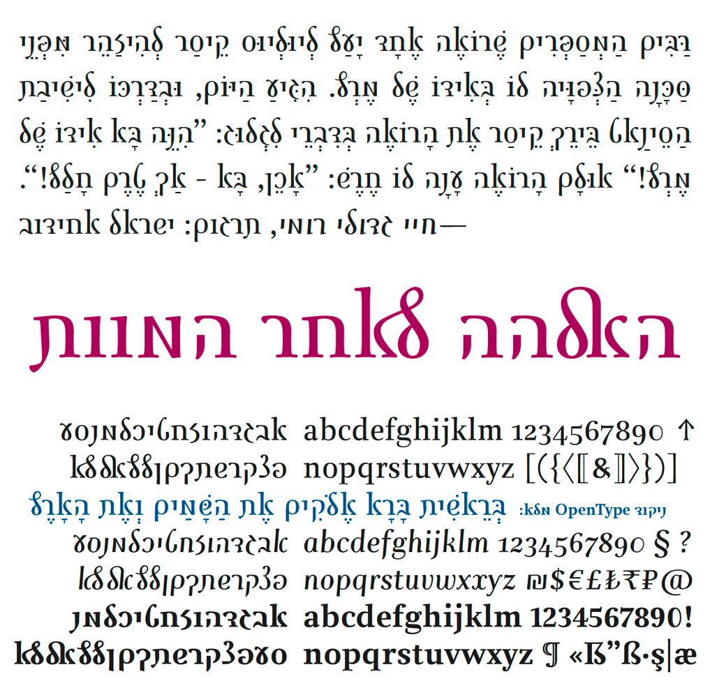 Hebrew-Latin book typeface Julius Roman with nikkud by Jürgen Weltin and Timothy Ariel Walden