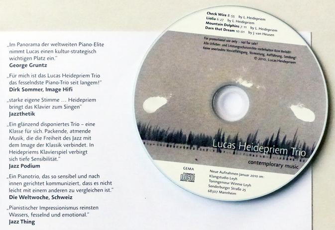 Promotion CD Lucas Heidepriem – contemplorary music. Klangstudio Leyh, Mannheim