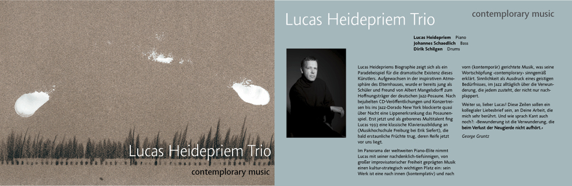 Promotional mailing card for renowned jazz pianist Lucas Heidepriem and welcoming speech by jazz critic George Gruntz