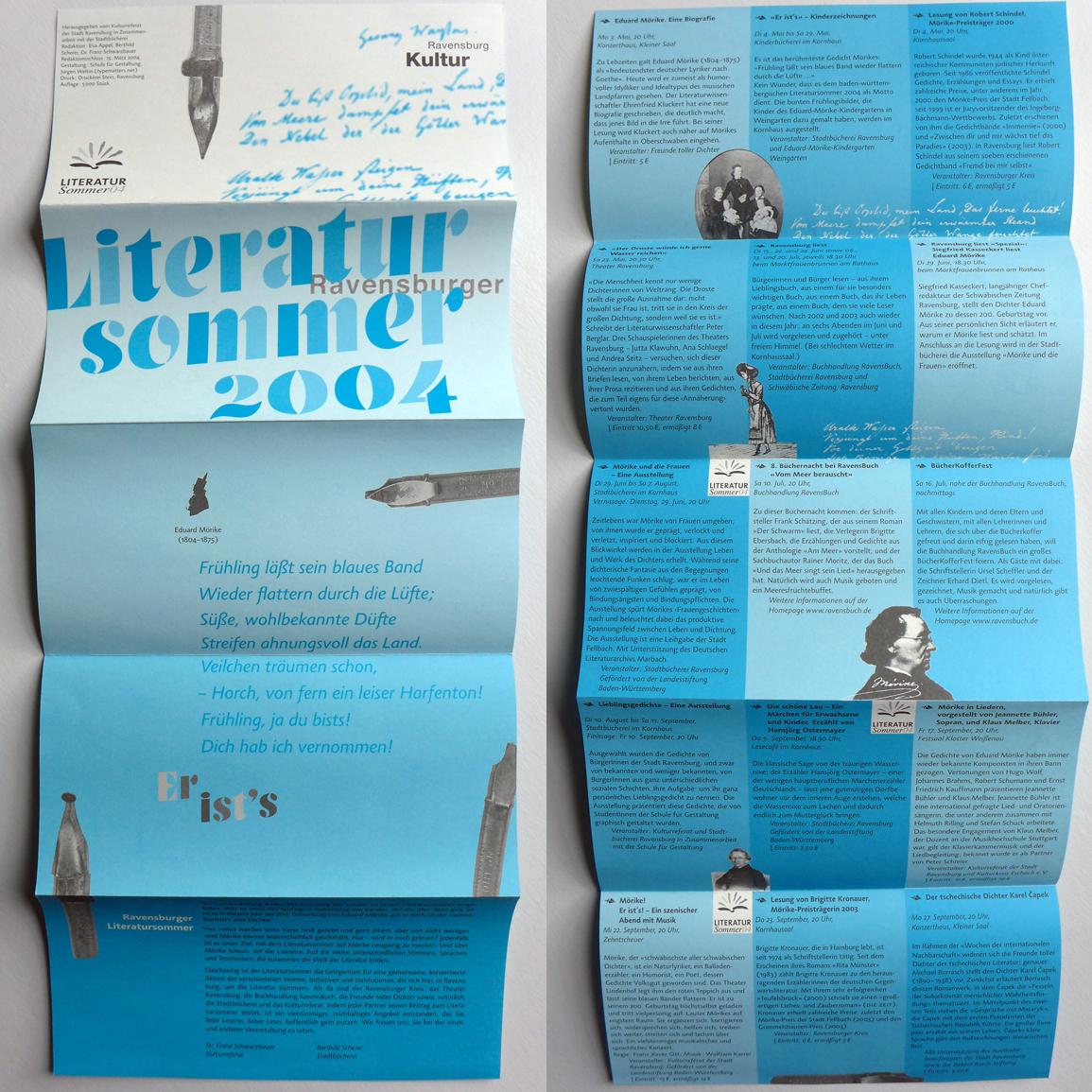 Flyer für den Literatursommer 2014 in der Stadt Ravensburg