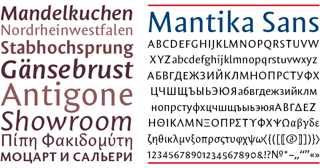 Mantika Sans Latin, Cyrillic, Greek by Jürgen Weltin, Type Matters