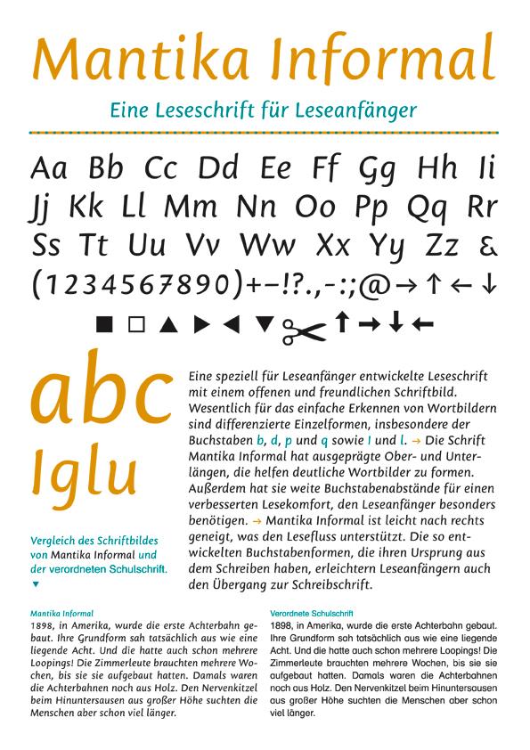 Mantika Informal von Jürgen Weltin, Type Matters, eine Leseschrift für Leseanfänger