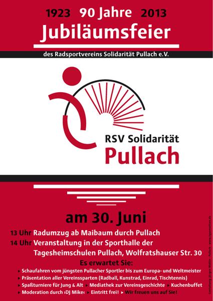 Plakat zum neunzigjährigen Jubiläum des Radsportvereins RSV Solidarität Pullach