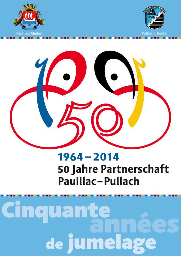 Plakat zum 50-jährigen Jubiläum der Städtepartnerschaft Pauillac-Pullach