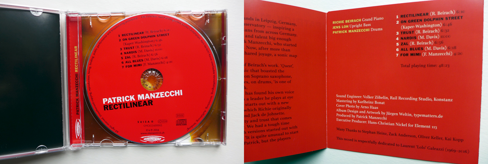 CD Booklet design Rectilinear: Patrick Manzecchi, Richie Beirach, Jens Loh