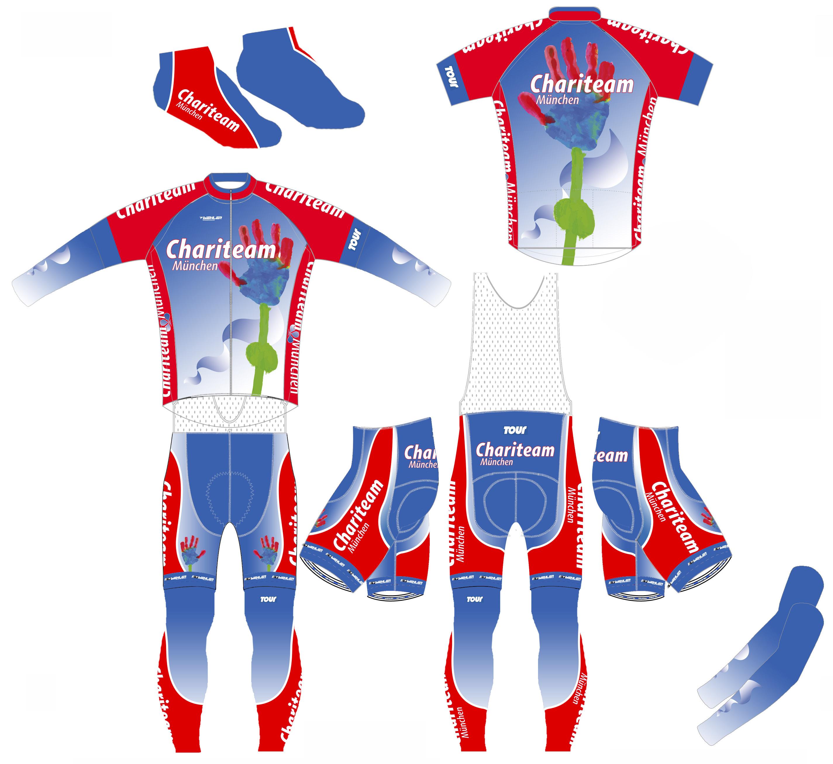 Entwurf für die Teambekleidung für das Chariteam München, bestehend aus Trikot, Hose, Armlinge, Beinlinge, Überschuhe