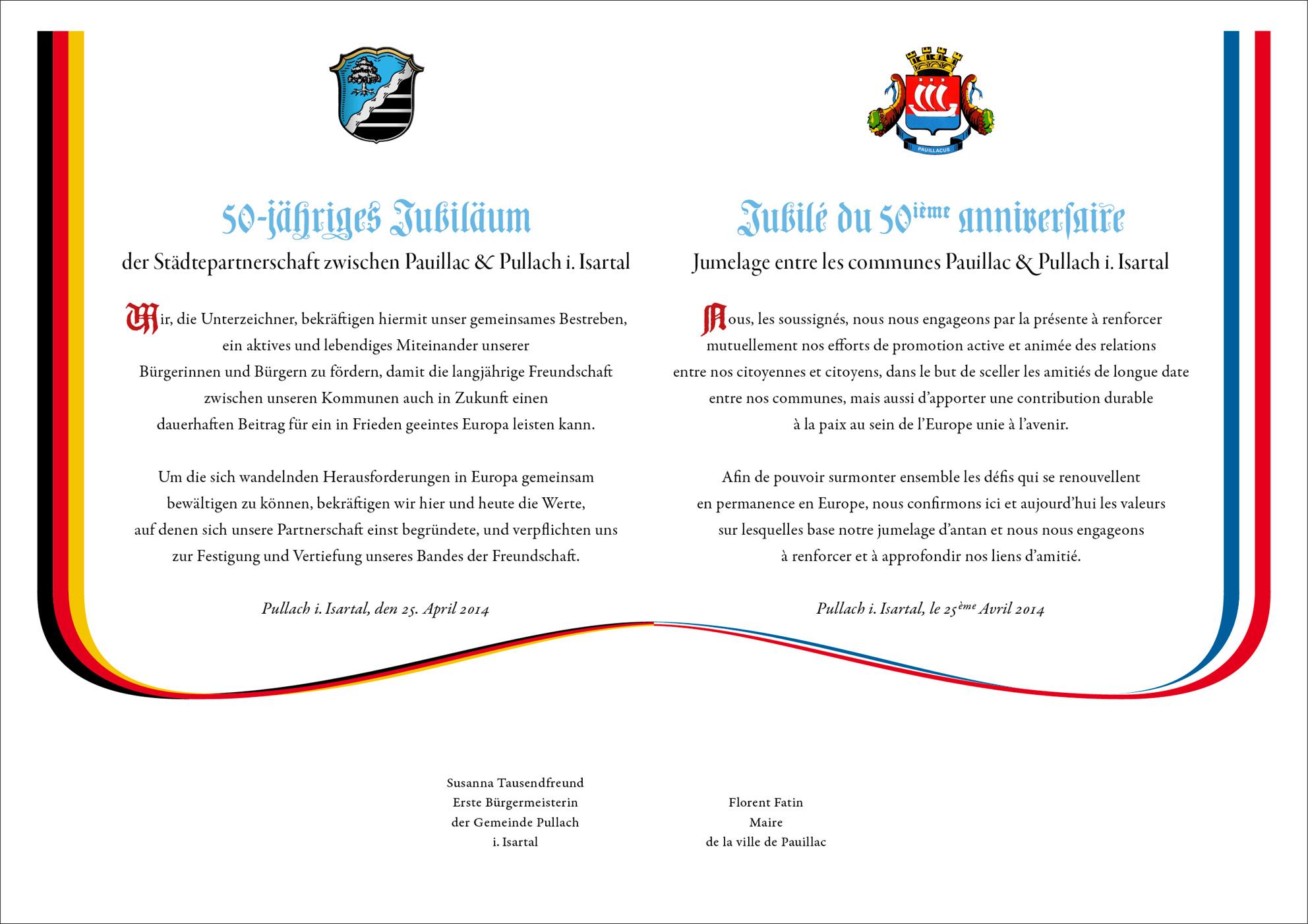Bekräftigungsurkunde zum 50-jährigen Jubiläum der Städtepartnerschaft Pauillac-Pullach