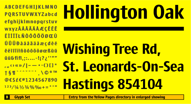 Custom typeface Yellow Bold character set and enlarged type setting