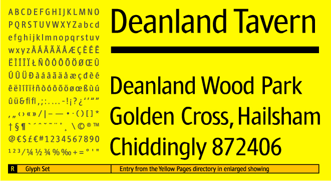 Custom typeface Yellow Regular character set and enlarged type setting