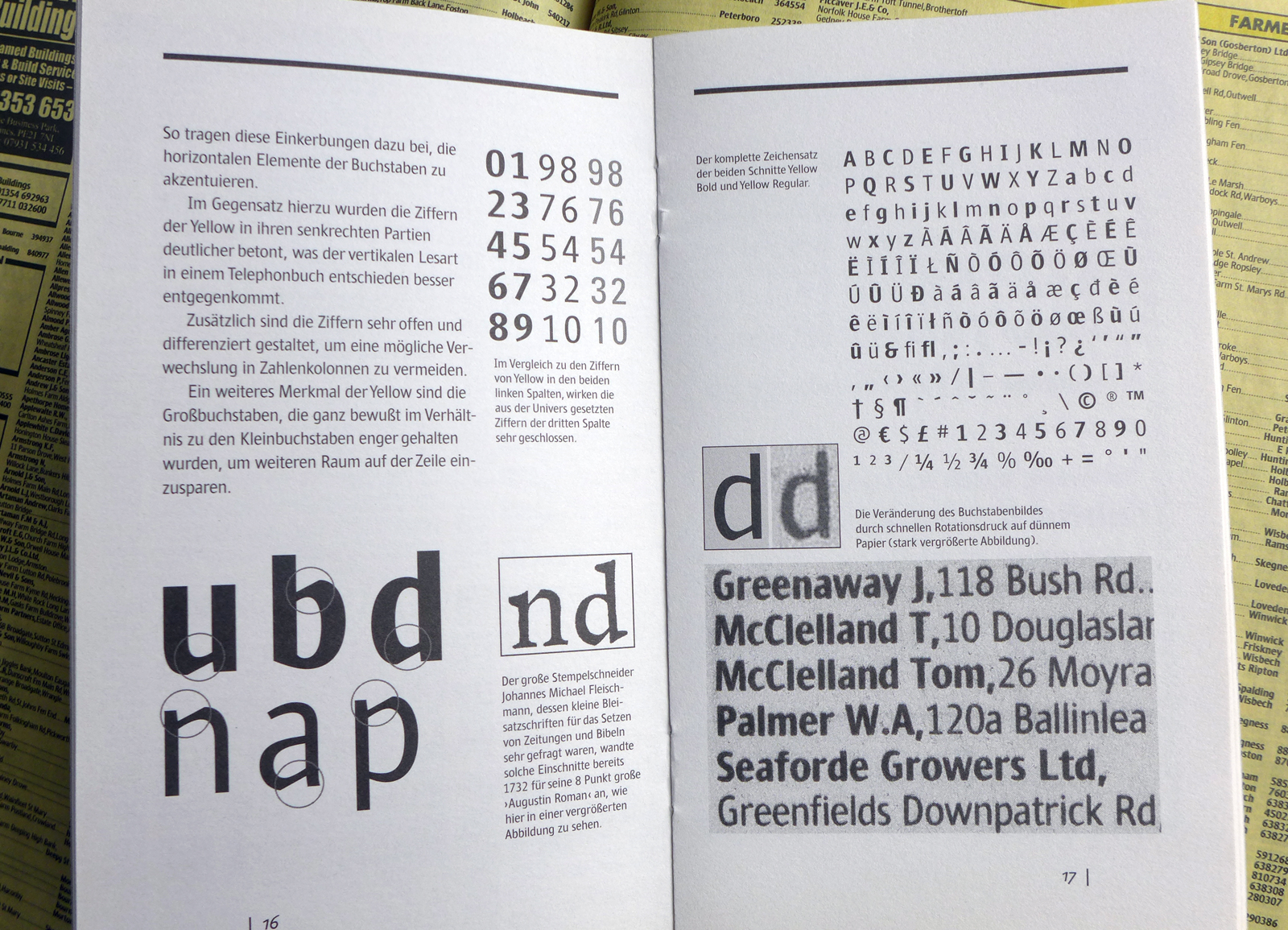 Printed brochure on the design of the Yellow phone directory typeface