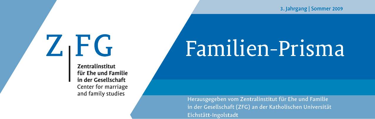 Kopf der Zeitschrift Familien-Prisma des Zentralinstituts für Ehe und Familie in der Gesellschaft