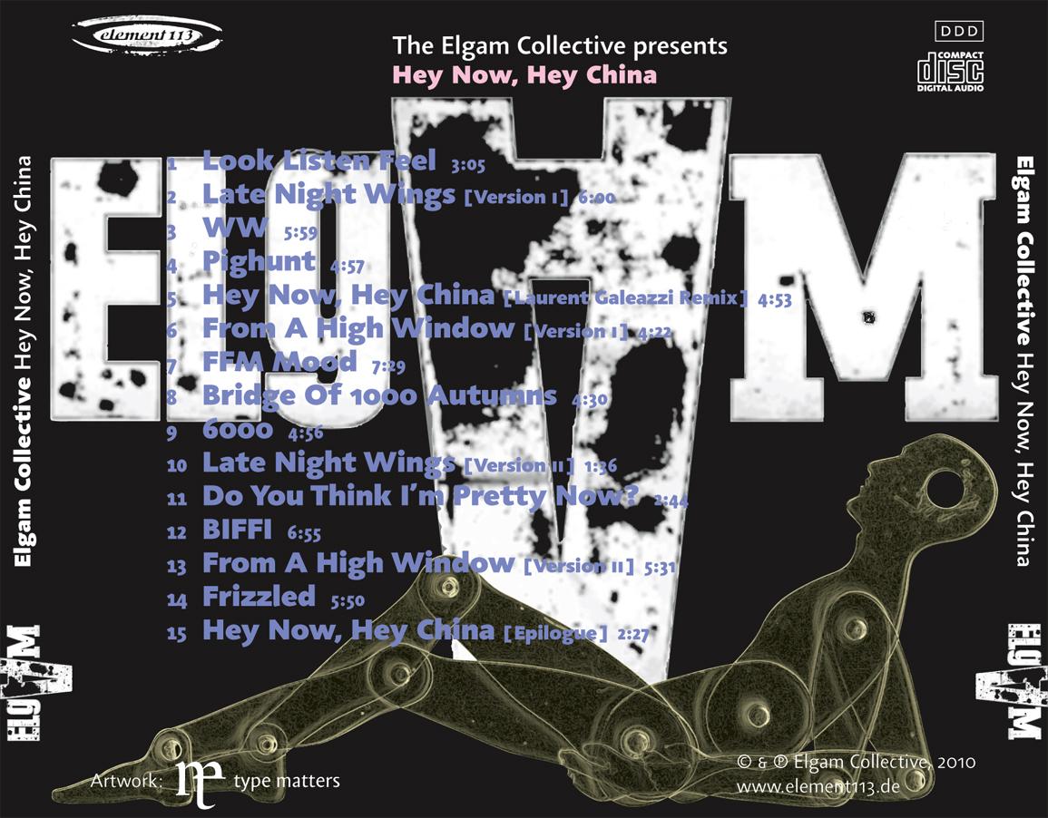 CD Design Elgam Hey Now, Hey China. Element 113 records