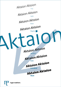 Aktaion type specimen PDF for download by Jürgen Weltin, type matters, Pullach